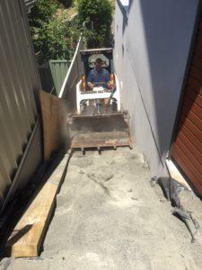 Pool digout narrow access