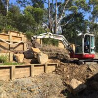 Rock and Sleeper retaining walls jasons bobcats
